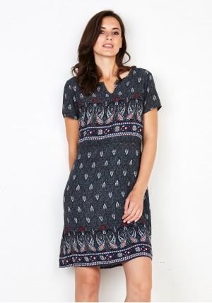 Szara Sukienka z wiskozy