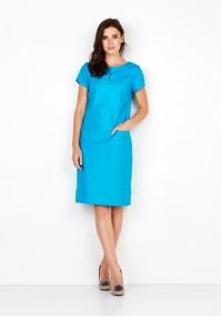 Niebieska lniana Sukienka