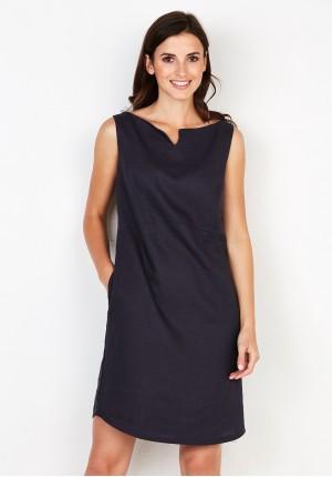 Navy blue linen Dress