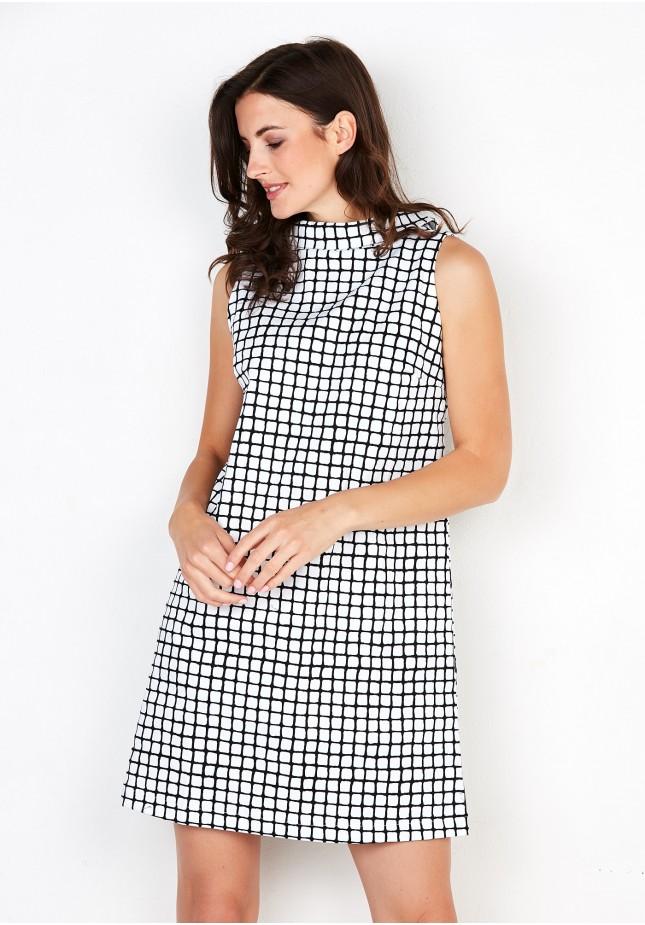 Czarno-biała Sukienka w kratę