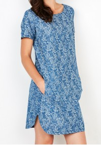 Jeansowa Sukienka w duże kwiaty