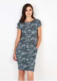 Dress with navy-blue patterns
