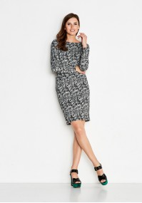 Gray Dress in black patterns