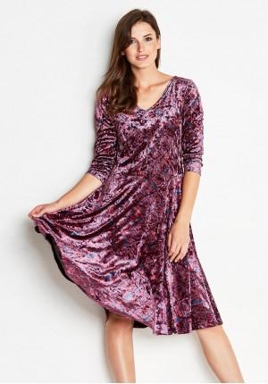Welurowa Bordowa Sukienka