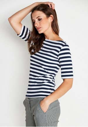Blouse with navy stripes