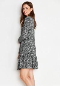 Gray and black Dress with frill