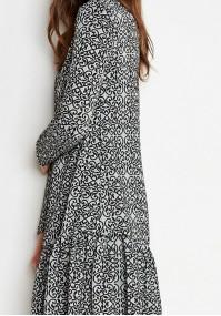Szaro-czarna Sukienka z falbaną