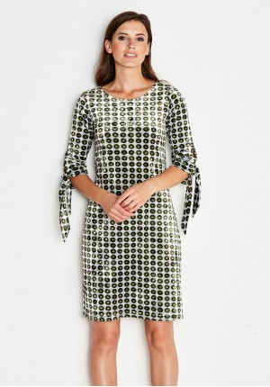 Velor Dress with green polka dots