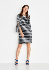Velor Dress with navy blue polka dots