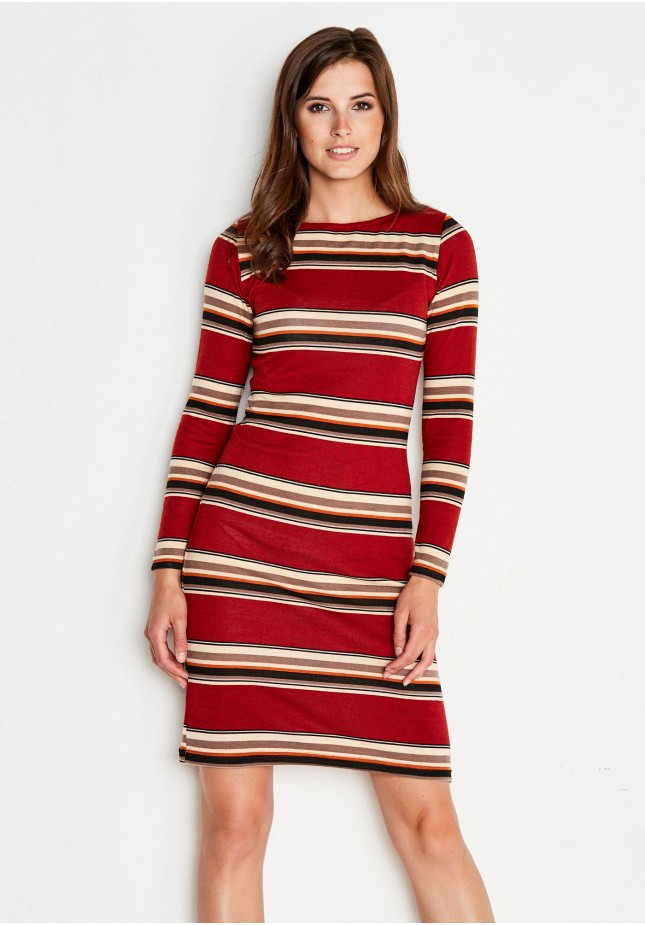 Ruda Sukienka w paski