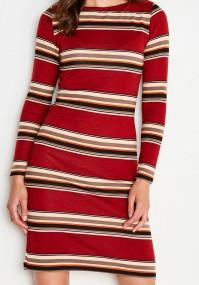 Orange red Dress with stripes.