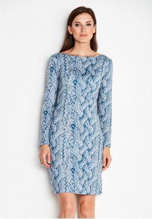Niebieska Sukienka z warkoczem