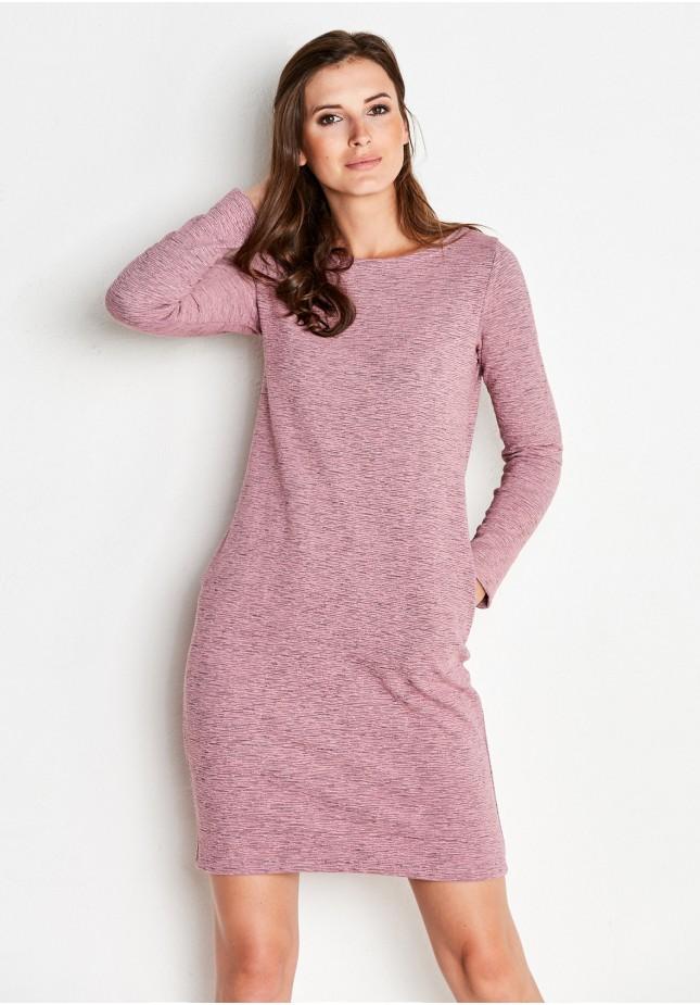 Różowa prążkowana Sukienka