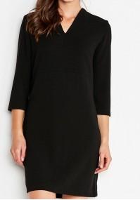 Czarna Sukienka z dekoltem w szpic