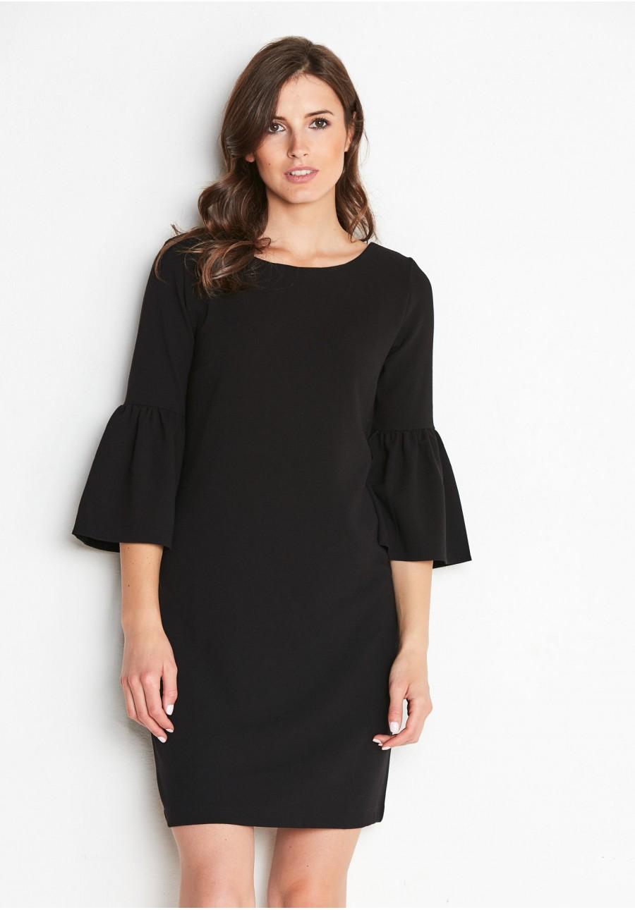 81d096df45 Czarna Sukienka z rozkloszowanym rękawkiem