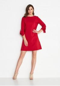 Czerwona Sukienka z wiązanym rękawkiem