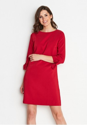 Red Dress with tied sleeves