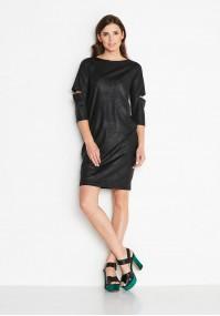 Czarna Sukienka imitacja skóry