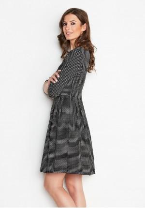 Elegancka rozkloszowana sukienka w kratkę