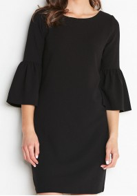 Czarna Sukienka z rozkloszowanym rękawkiem