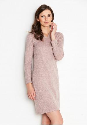 Dzianinowa Sukienka z kolorze pudrowego różu