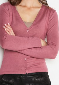 Różowy Rozpinany Sweter