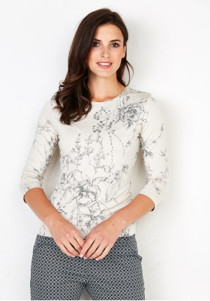 Beige Blouse with flowers