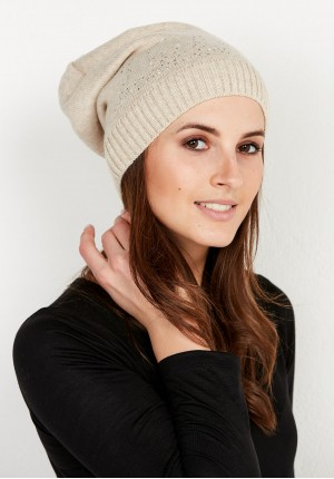 Beige Cap with sequins