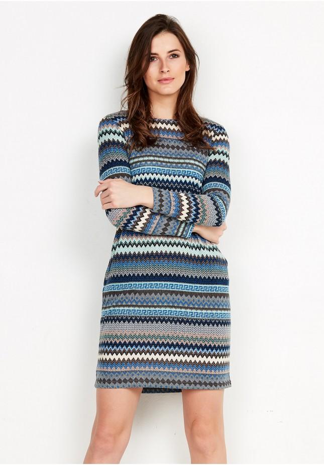 Turkusowa sukienka w paski