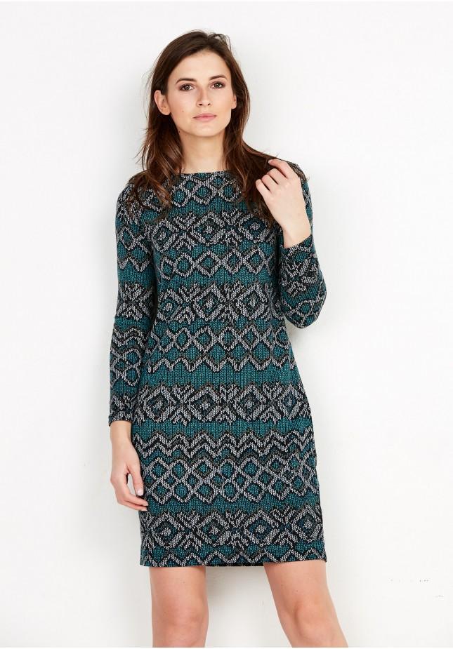 Dzianinowa zielona sukienka