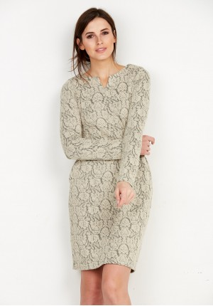Dzianinowa beżowa Sukienka