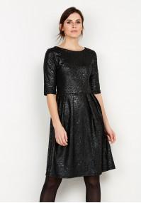 Odcinana czarna Sukienka