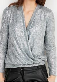 Srebrny kopertowy Sweter