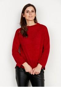 Czerwony Dzianinowy Sweter