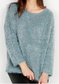 Miętowy włochaty Sweter