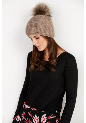 Dark beige Cap with pompom