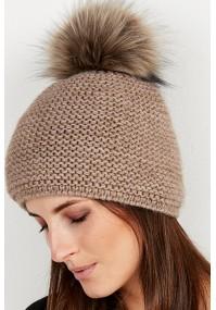 Dark beige Cap with pompom
