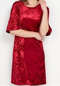Welurowa Czerwona Sukienka
