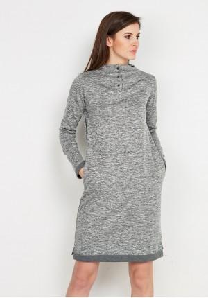 Grey Dress with Semi-Golf