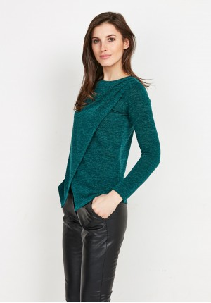 Green Overlap Sweater