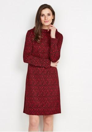 Czerwona Sukienka z półgolfem