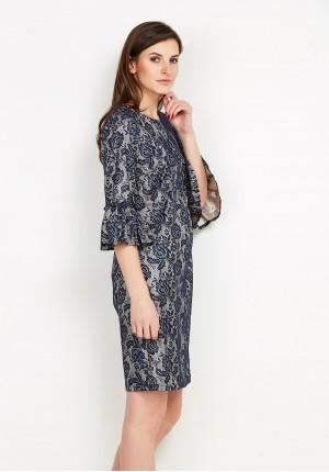 Granatowa koronkowa Sukienka