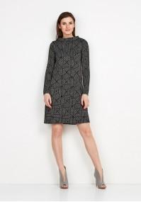 Czarna Sukienka w mozaikę
