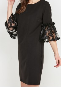 Little Black Dress with decorated sleeves