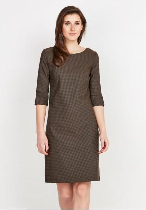 Brązowa sukienka w kratkę