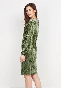 Zielona Welurowa Sukienka
