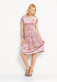 Welurowa różowa sukienka