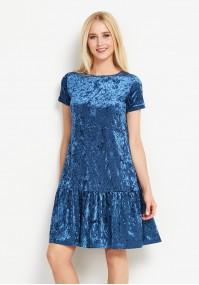 Welurowa niebieska sukienka z falbaną