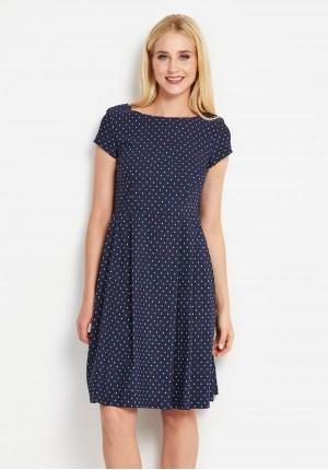 Granatowa Rozkloszowana Sukienka w kropki