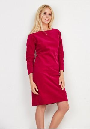 Różowa sztruksowa sukienka